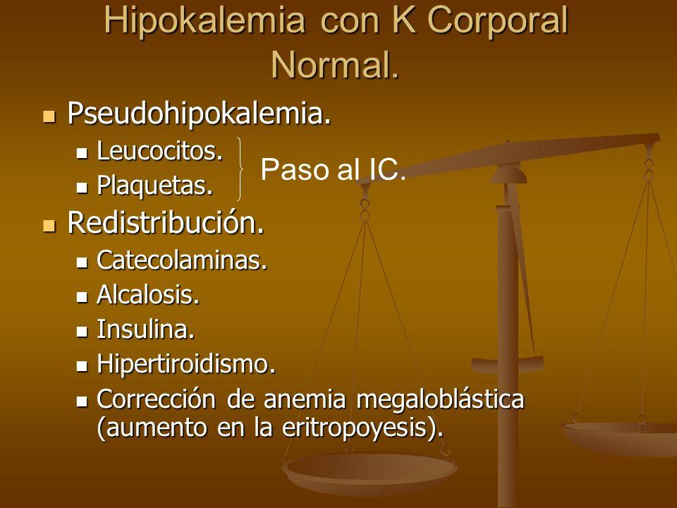 Hipokalemia con K Corporal Normal. Pseudohipokalemia. Pseudohipokalemia. Leucocitos. Leucocitos. Plaquetas. Plaquetas. Redistribución. Redistribución.