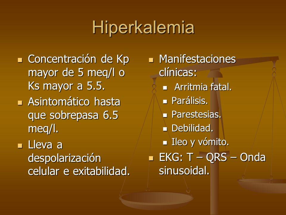 Hiperkalemia Concentración de Kp mayor de 5 meq/l o Ks mayor a 5.5. Concentración de Kp mayor de 5 meq/l o Ks mayor a 5.5. Asintomático hasta que sobr