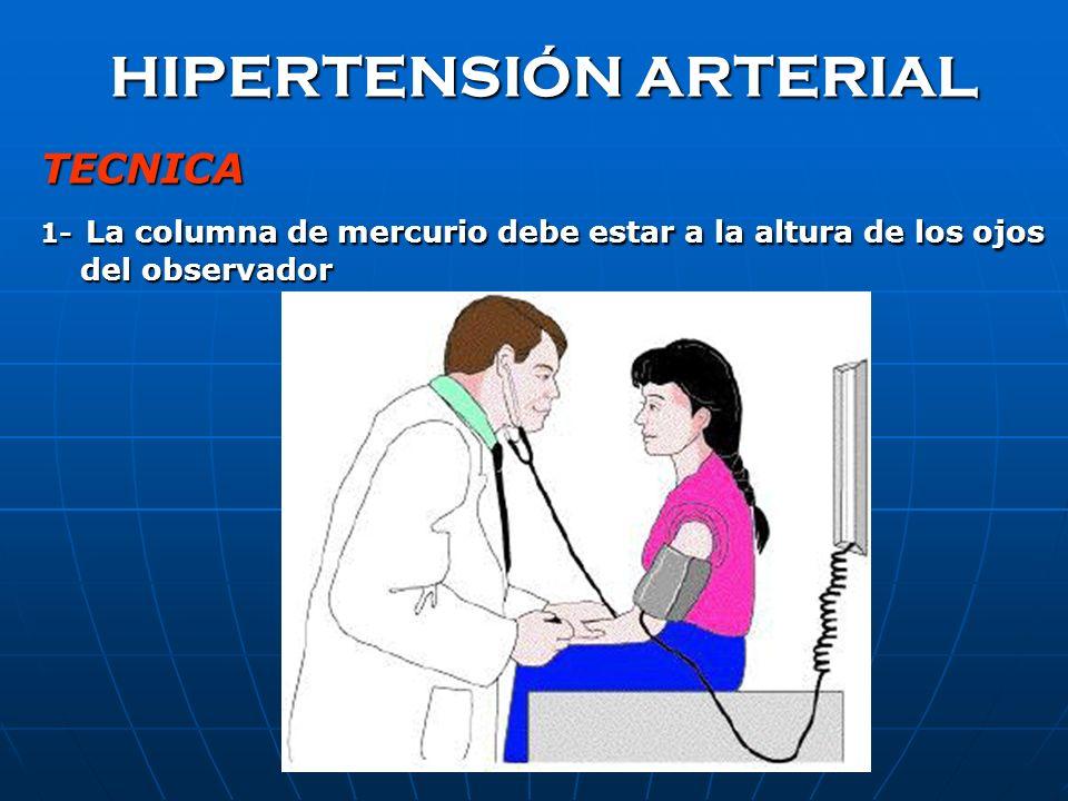 HIPERTENSIÓN ARTERIAL TECNICA 1- La columna de mercurio debe estar a la altura de los ojos del observador