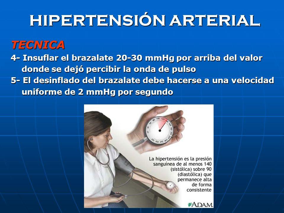 HIPERTENSIÓN ARTERIAL TECNICA 2- Colocar el manguito dejando libre la fosa anticubital 3- Palpar la arteria braquial y colocar el estetoscopio a dos c
