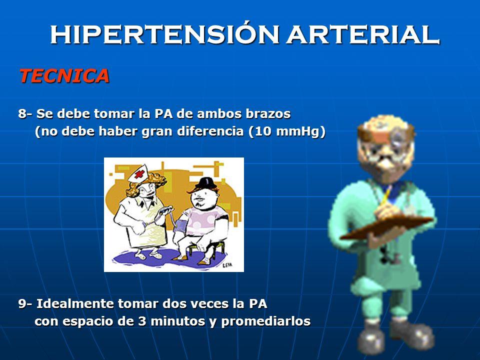 HIPERTENSIÓN ARTERIAL TECNICA 8- Se debe tomar la PA de ambos brazos (no debe haber gran diferencia (10 mmHg) (no debe haber gran diferencia (10 mmHg) 9- Idealmente tomar dos veces la PA con espacio de 3 minutos y promediarlos con espacio de 3 minutos y promediarlos