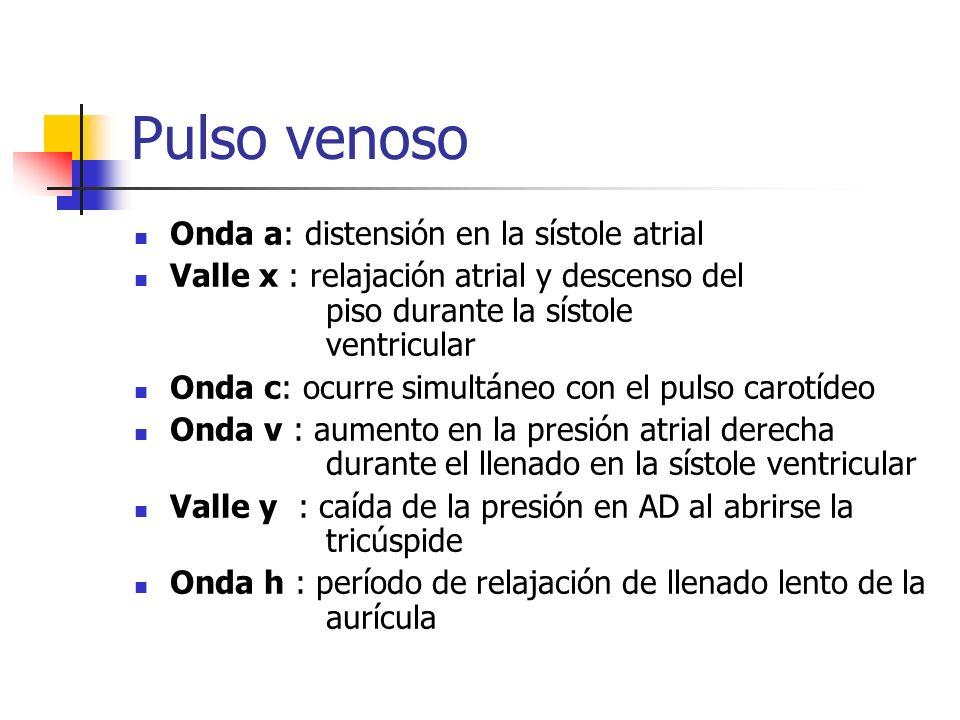 Pulso venoso Onda a: distensión en la sístole atrial Valle x : relajación atrial y descenso del piso durante la sístole ventricular Onda c: ocurre sim
