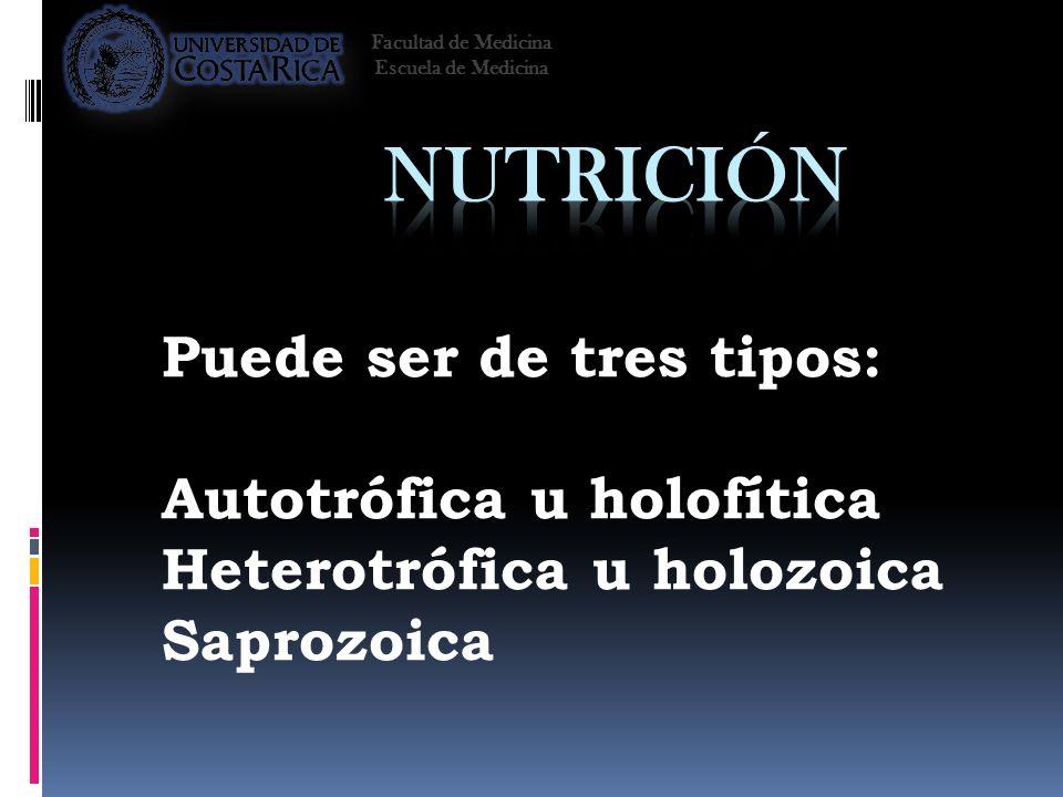 Puede ser de tres tipos: Autotrófica u holofítica Heterotrófica u holozoica Saprozoica Facultad de Medicina Escuela de Medicina