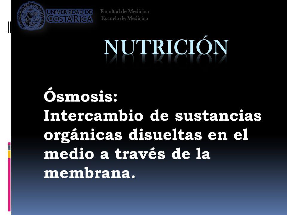 Ósmosis: Intercambio de sustancias orgánicas disueltas en el medio a través de la membrana. Facultad de Medicina Escuela de Medicina