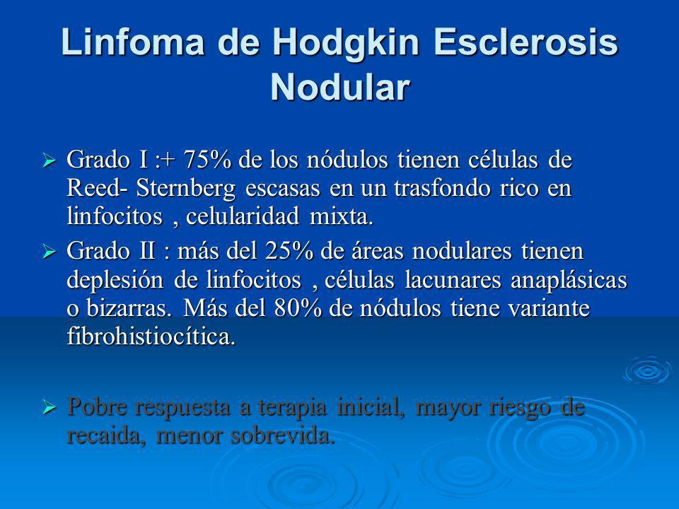 Linfoma de Hodgkin Esclerosis Nodular Grado I :+ 75% de los nódulos tienen células de Reed- Sternberg escasas en un trasfondo rico en linfocitos, celu