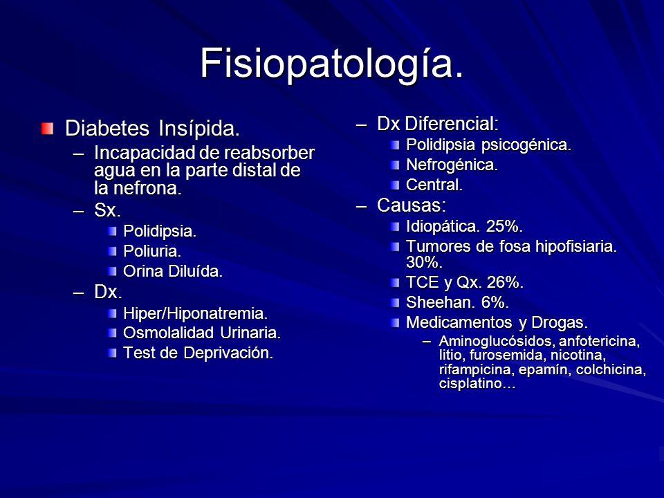 Fisiopatología. Diabetes Insípida. –Incapacidad de reabsorber agua en la parte distal de la nefrona. –Sx. Polidipsia.Poliuria. Orina Diluída. –Dx. Hip
