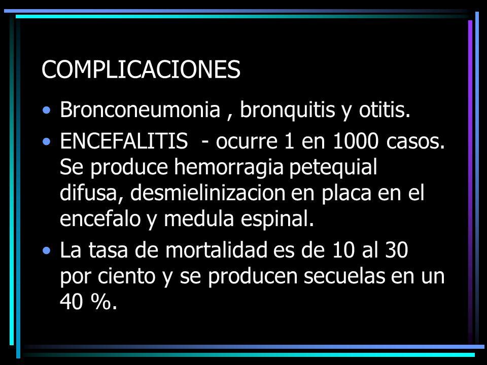 COMPLICACIONES Bronconeumonia, bronquitis y otitis. ENCEFALITIS - ocurre 1 en 1000 casos. Se produce hemorragia petequial difusa, desmielinizacion en