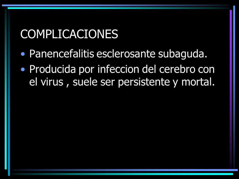 COMPLICACIONES Panencefalitis esclerosante subaguda. Producida por infeccion del cerebro con el virus, suele ser persistente y mortal.