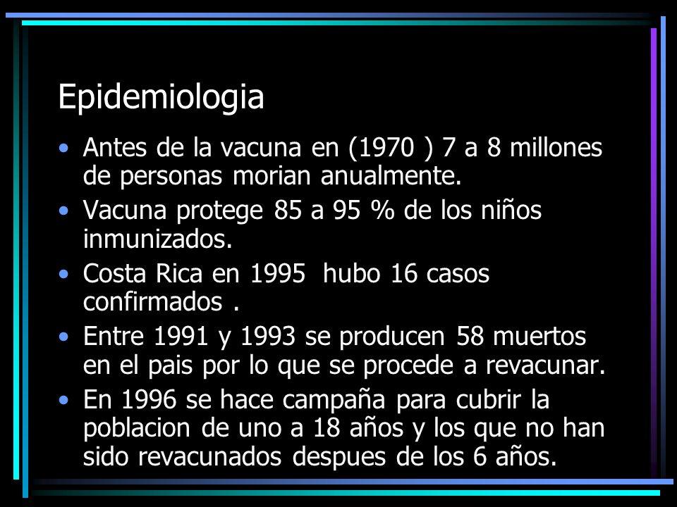 Epidemiologia Antes de la vacuna en (1970 ) 7 a 8 millones de personas morian anualmente. Vacuna protege 85 a 95 % de los niños inmunizados. Costa Ric