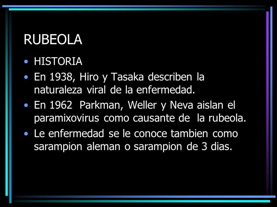 RUBEOLA HISTORIA En 1938, Hiro y Tasaka describen la naturaleza viral de la enfermedad. En 1962 Parkman, Weller y Neva aislan el paramixovirus como ca