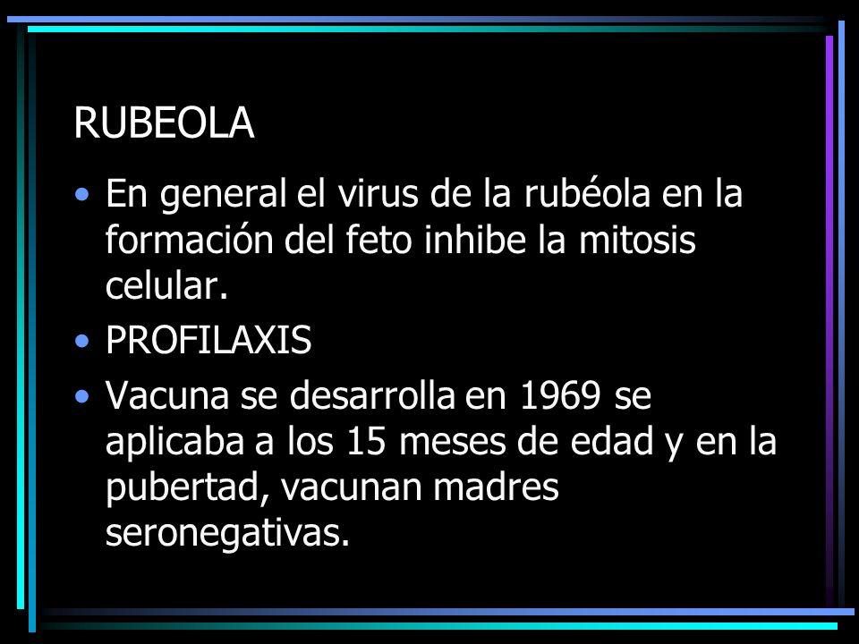 RUBEOLA En general el virus de la rubéola en la formación del feto inhibe la mitosis celular. PROFILAXIS Vacuna se desarrolla en 1969 se aplicaba a lo