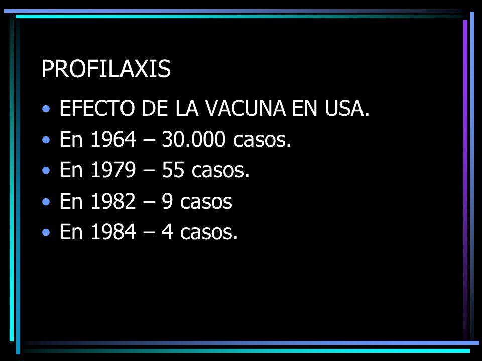 PROFILAXIS EFECTO DE LA VACUNA EN USA. En 1964 – 30.000 casos. En 1979 – 55 casos. En 1982 – 9 casos En 1984 – 4 casos.