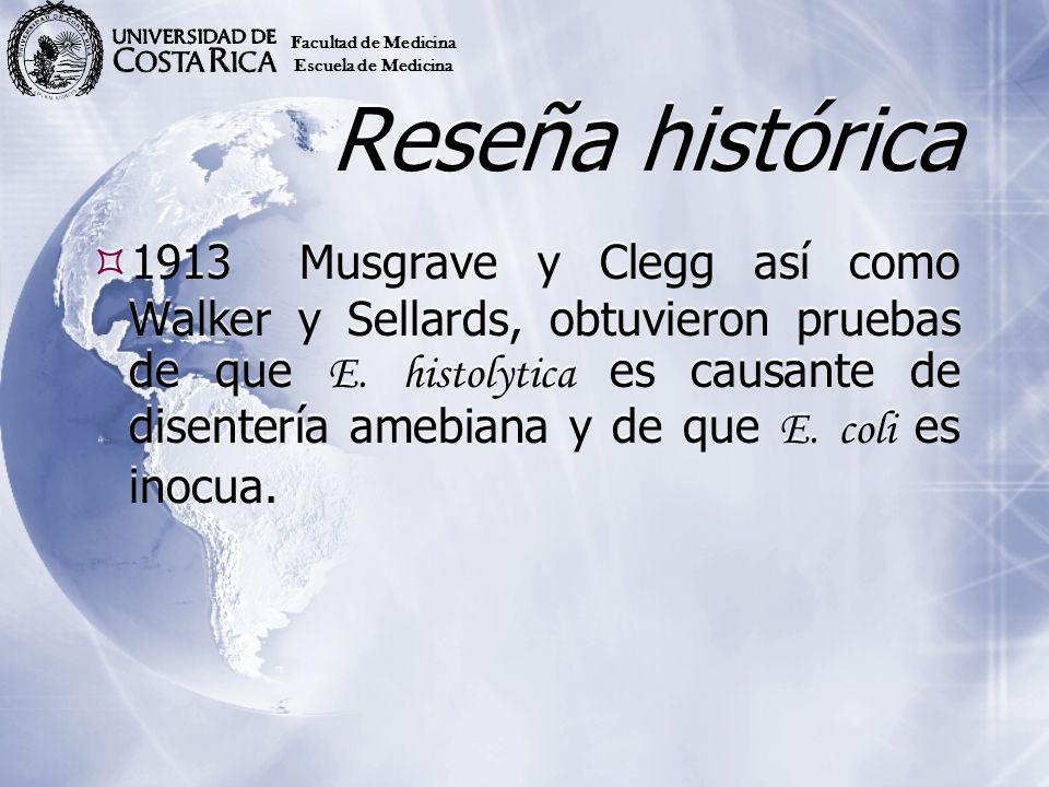 Reseña histórica 1913Musgrave y Clegg así como Walker y Sellards, obtuvieron pruebas de que E. histolytica es causante de disentería amebiana y de que
