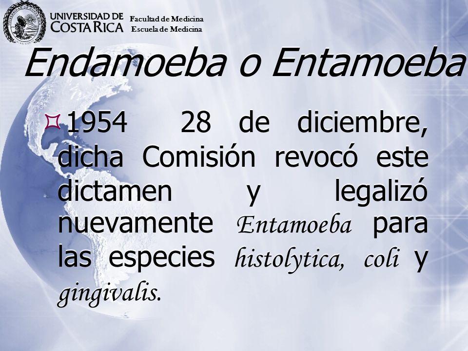 Endamoeba o Entamoeba 195428 de diciembre, dicha Comisión revocó este dictamen y legalizó nuevamente Entamoeba para las especies histolytica, coli y g