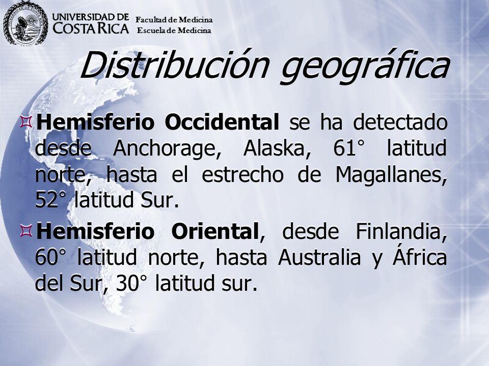 Distribución geográfica Hemisferio Occidental se ha detectado desde Anchorage, Alaska, 61° latitud norte, hasta el estrecho de Magallanes, 52° latitud