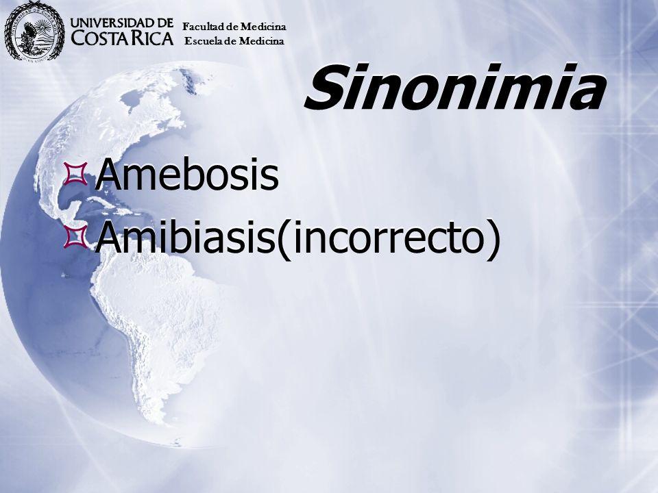 Sinonimia Amebosis Amibiasis(incorrecto) Amebosis Amibiasis(incorrecto) Facultad de Medicina Escuela de Medicina