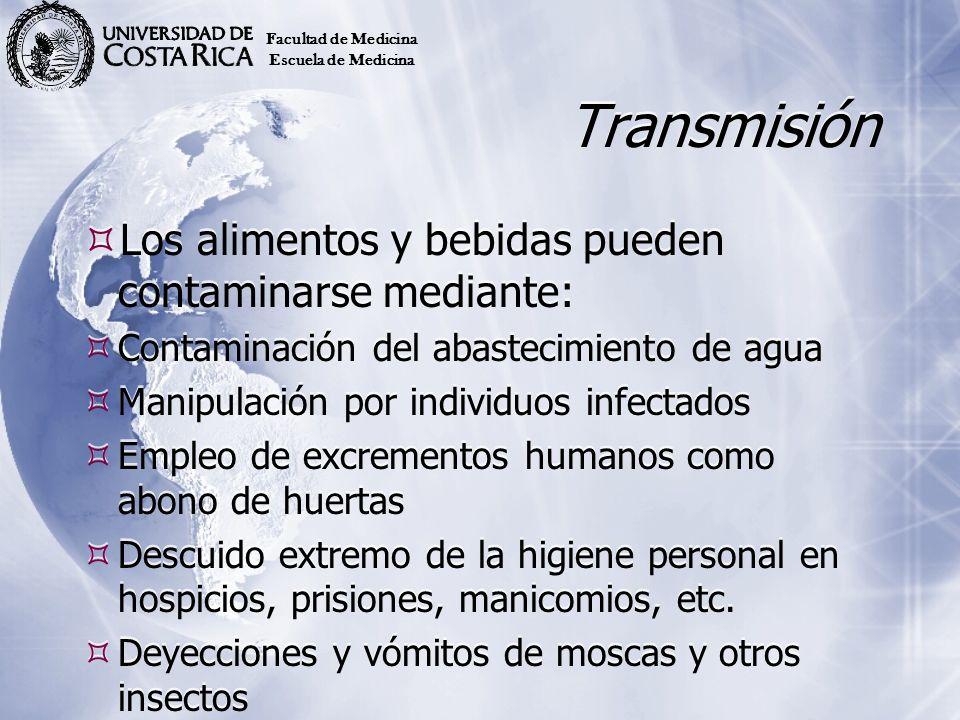 Transmisión Los alimentos y bebidas pueden contaminarse mediante: Contaminación del abastecimiento de agua Manipulación por individuos infectados Empl