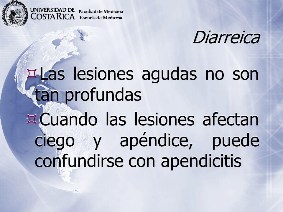 Diarreica Las lesiones agudas no son tan profundas Cuando las lesiones afectan ciego y apéndice, puede confundirse con apendicitis Las lesiones agudas