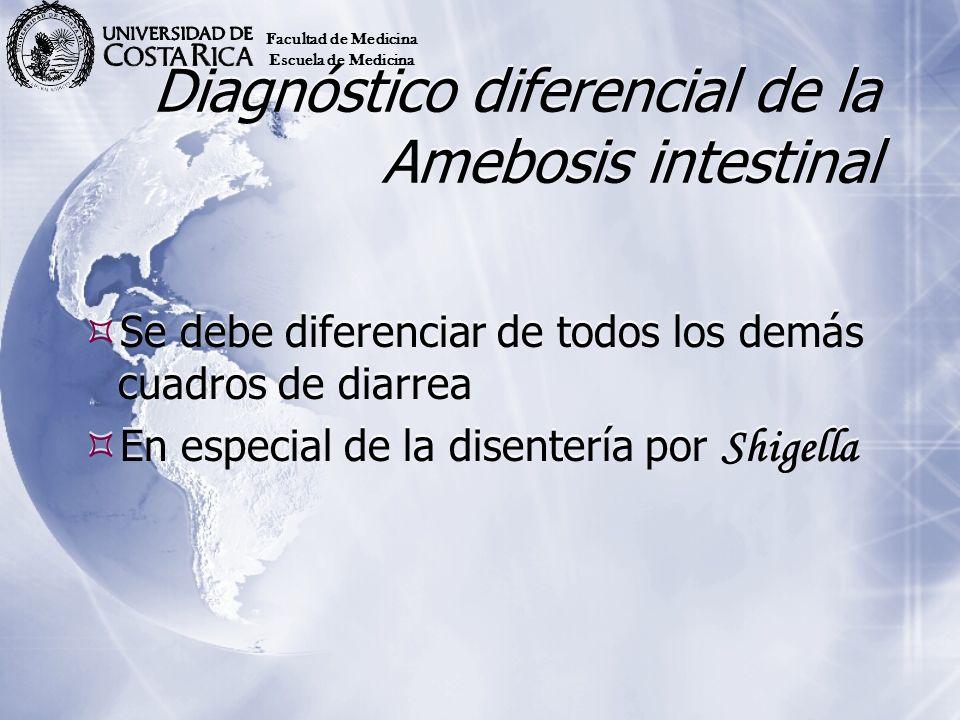Diagnóstico diferencial de la Amebosis intestinal Se debe diferenciar de todos los demás cuadros de diarrea En especial de la disentería por Shigella