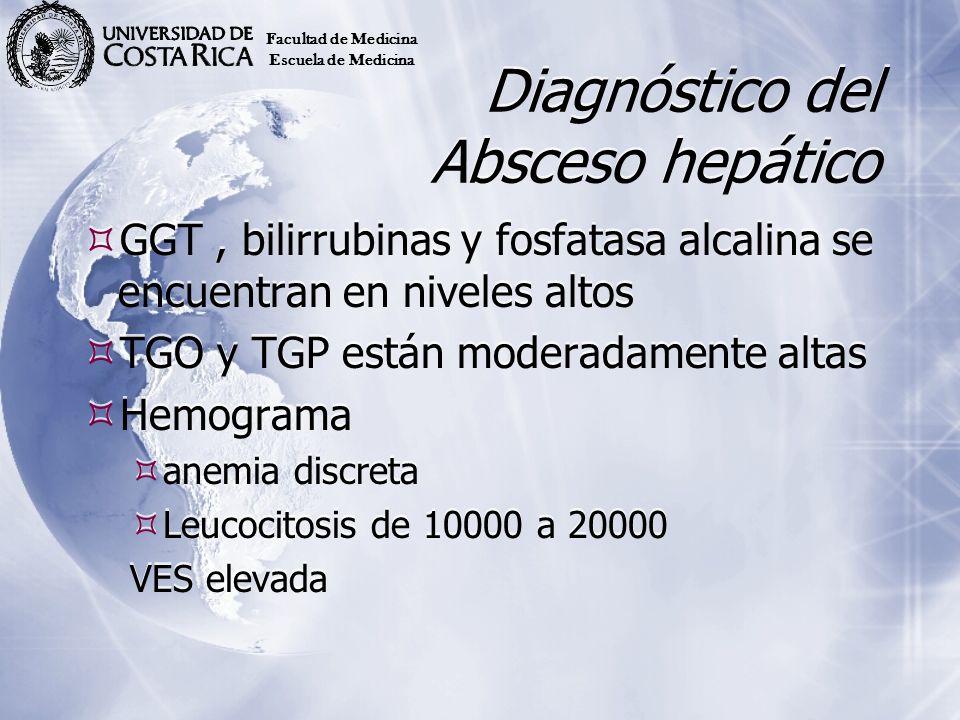 Diagnóstico del Absceso hepático GGT, bilirrubinas y fosfatasa alcalina se encuentran en niveles altos TGO y TGP están moderadamente altas Hemograma a