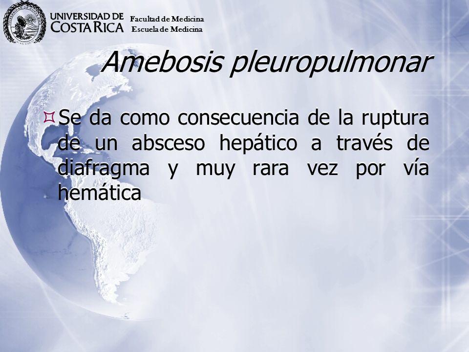 Amebosis pleuropulmonar Se da como consecuencia de la ruptura de un absceso hepático a través de diafragma y muy rara vez por vía hemática Facultad de
