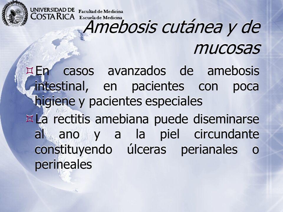 Amebosis cutánea y de mucosas En casos avanzados de amebosis intestinal, en pacientes con poca higiene y pacientes especiales La rectitis amebiana pue