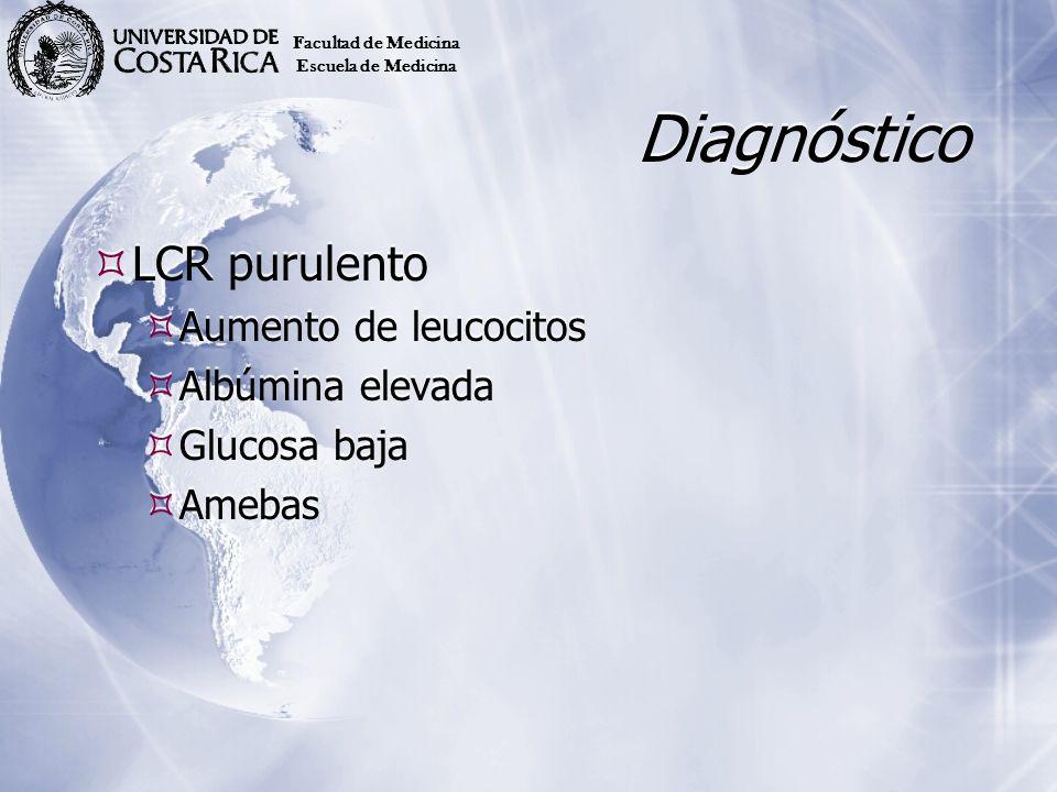 Diagnóstico LCR purulento Aumento de leucocitos Albúmina elevada Glucosa baja Amebas LCR purulento Aumento de leucocitos Albúmina elevada Glucosa baja