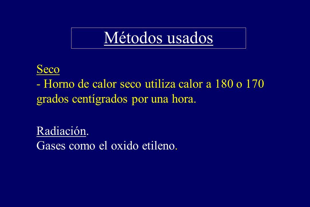 Métodos usados §Seco - Horno de calor seco utiliza calor a 180 o 170 grados centígrados por una hora. §Radiación. Gases como el oxido etileno.