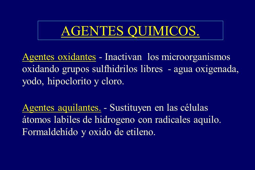 AGENTES QUIMICOS. §Agentes oxidantes - Inactivan los microorganismos oxidando grupos sulfhidrilos libres - agua oxigenada, yodo, hipoclorito y cloro.