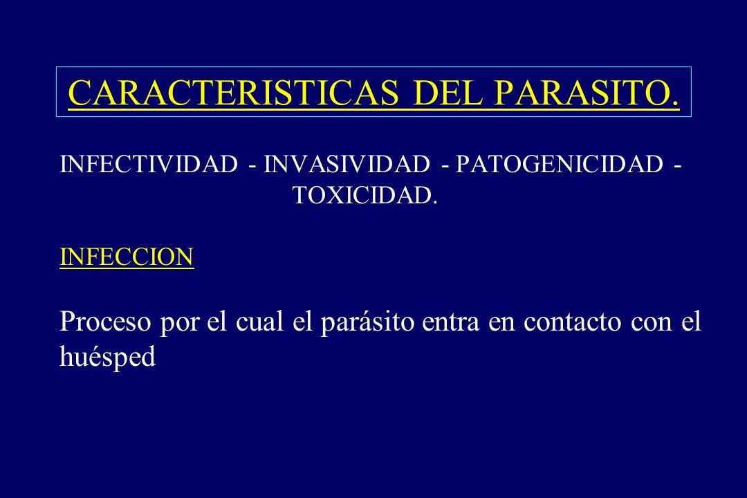 CARACTERISTICAS DEL PARASITO. §INFECTIVIDAD - INVASIVIDAD - PATOGENICIDAD - TOXICIDAD. INFECCION Proceso por el cual el parásito entra en contacto con