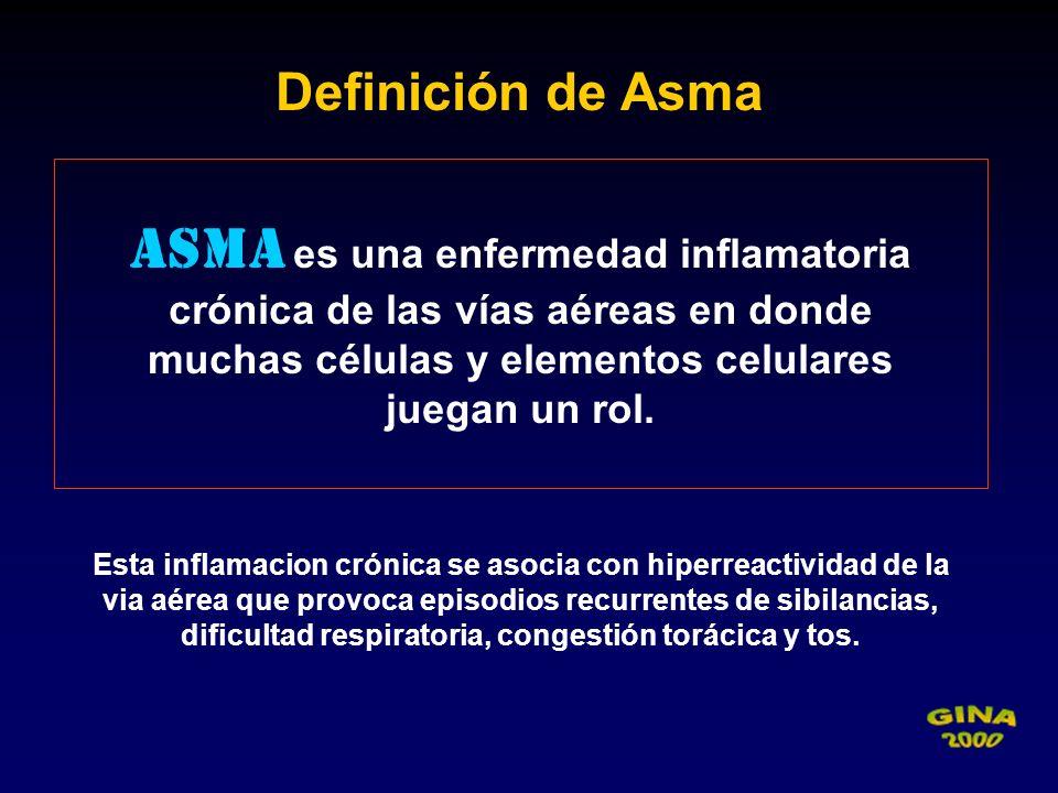 Asma es una enfermedad inflamatoria crónica de las vías aéreas en donde muchas células y elementos celulares juegan un rol. Definición de Asma Esta in