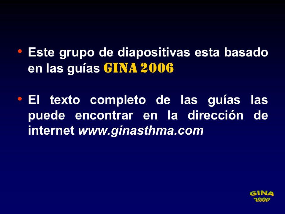 Este grupo de diapositivas esta basado en las guías GINA 2006 El texto completo de las guías las puede encontrar en la dirección de internet www.ginas