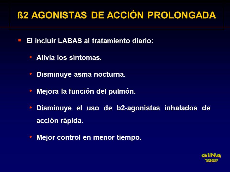 El incluir LABAS al tratamiento diario: Alivia los síntomas. Disminuye asma nocturna. Mejora la función del pulmón. Disminuye el uso de b2-agonistas i