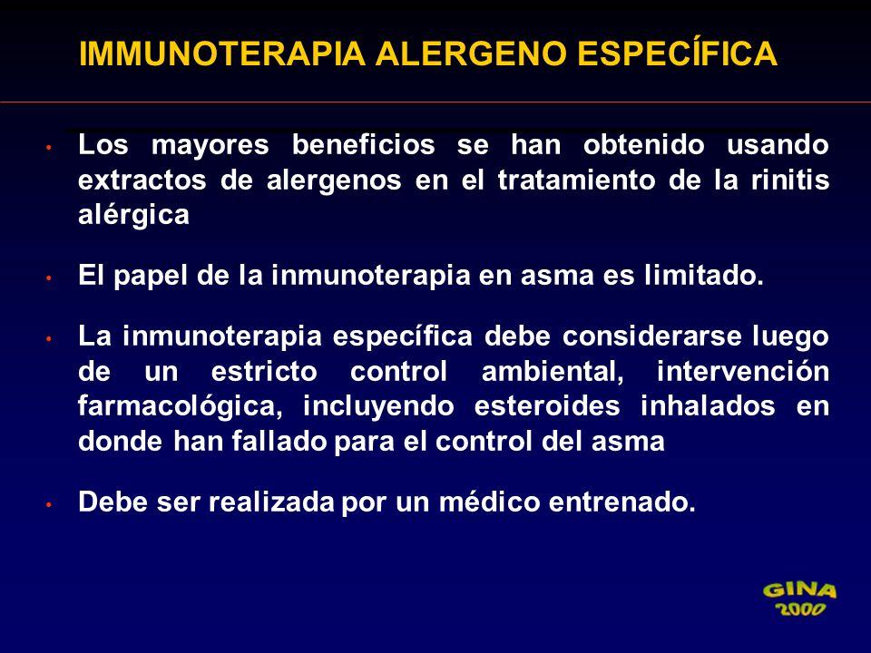 IMMUNOTERAPIA ALERGENO ESPECÍFICA Los mayores beneficios se han obtenido usando extractos de alergenos en el tratamiento de la rinitis alérgica El pap