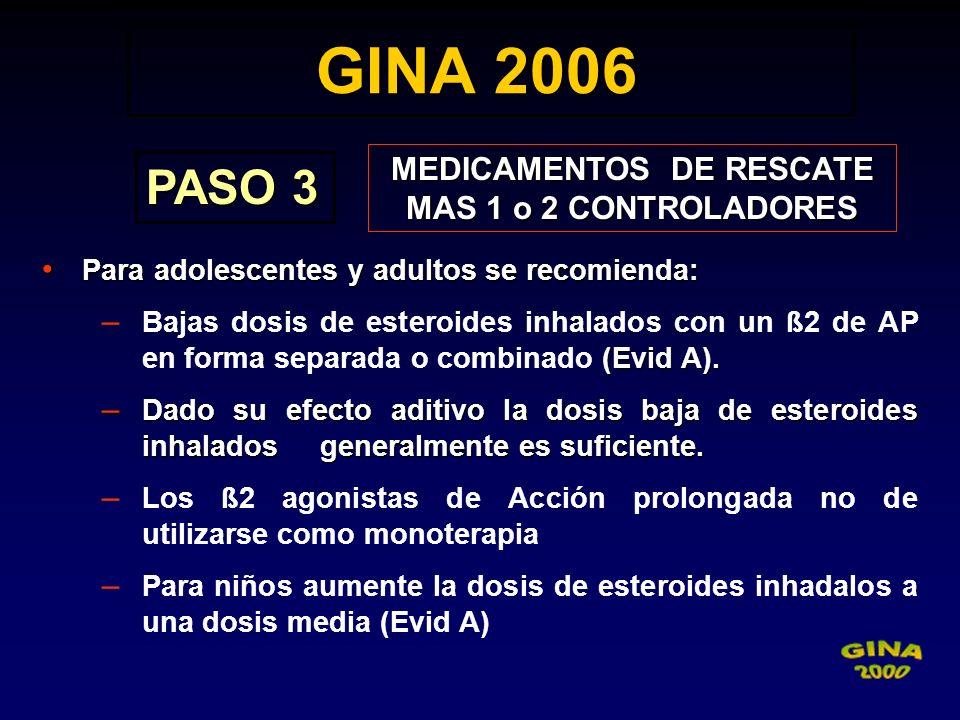 GINA 2006 GINA 2006 PASO 3 MEDICAMENTOS DE RESCATE MAS 1 o 2 CONTROLADORES Para adolescentes y adultos se recomienda: Para adolescentes y adultos se r