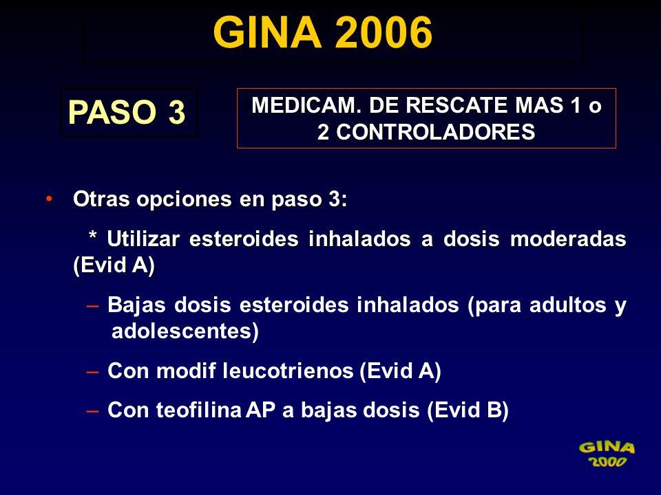 GINA 2006 GINA 2006 PASO 3 MEDICAM. DE RESCATE MAS 1 o 2 CONTROLADORES Otras opciones en paso 3:Otras opciones en paso 3: * Utilizar esteroides inhala