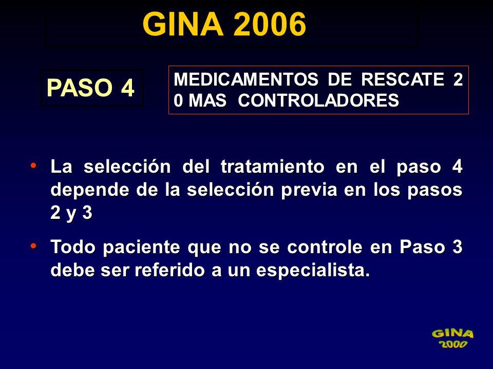 GINA 2006 GINA 2006 PASO 4 MEDICAMENTOS DE RESCATE 2 0 MAS CONTROLADORES La selección del tratamiento en el paso 4 depende de la selección previa en l