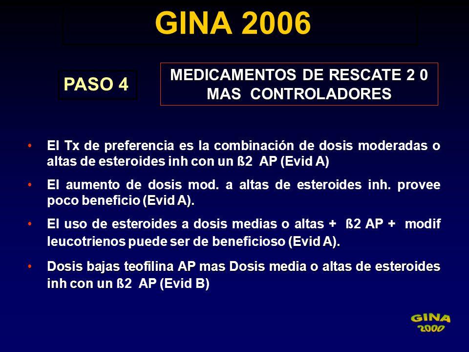 GINA 2006 GINA 2006 PASO 4 MEDICAMENTOS DE RESCATE 2 0 MAS CONTROLADORES El Tx de preferencia es la combinación de dosis moderadas o altas de esteroid