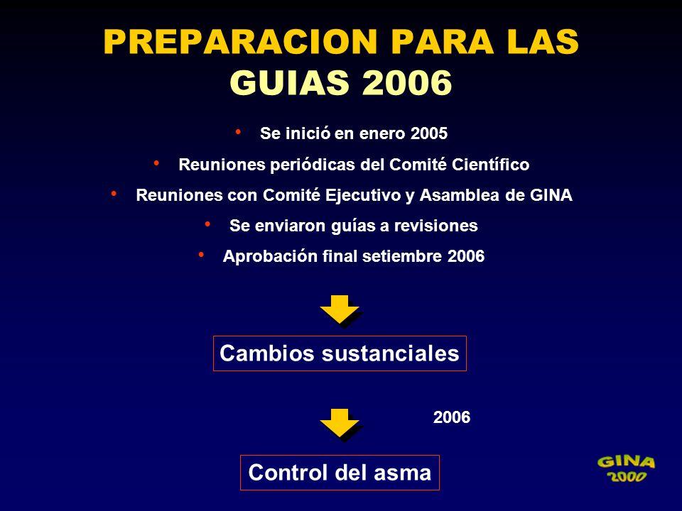 PREPARACION PARA LAS GUIAS 2006 Se inició en enero 2005 Reuniones periódicas del Comité Científico Reuniones con Comité Ejecutivo y Asamblea de GINA S