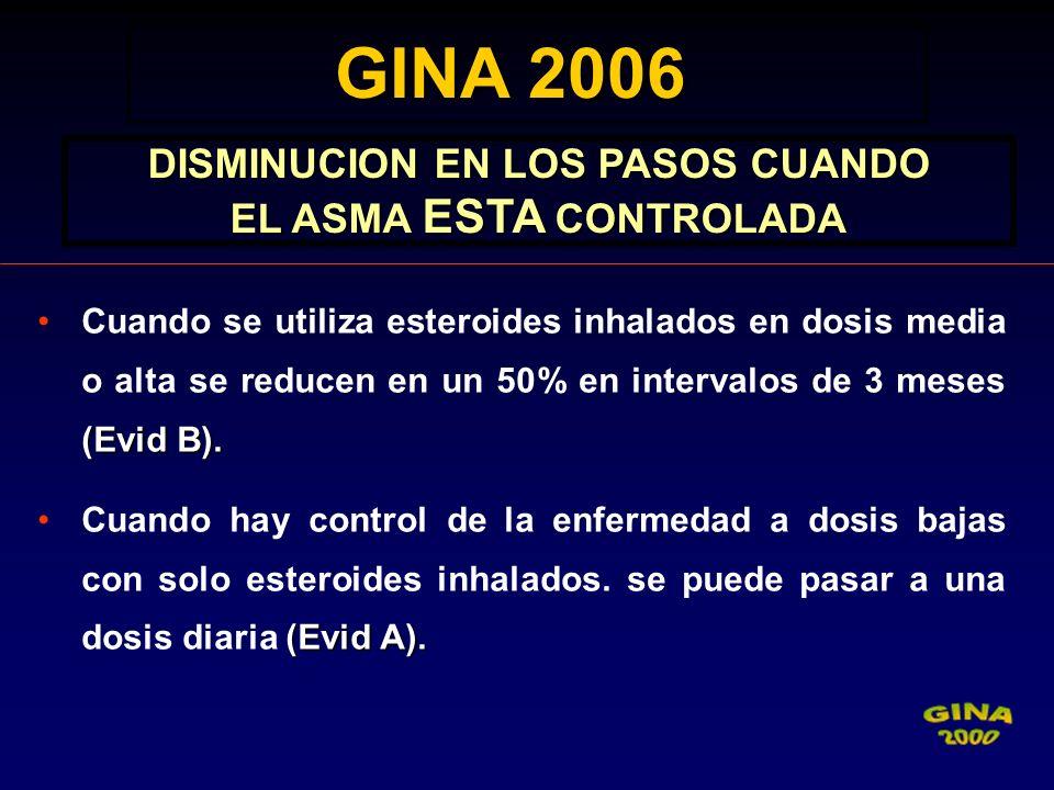 (Evid B).Cuando se utiliza esteroides inhalados en dosis media o alta se reducen en un 50% en intervalos de 3 meses (Evid B). (Evid A).Cuando hay cont