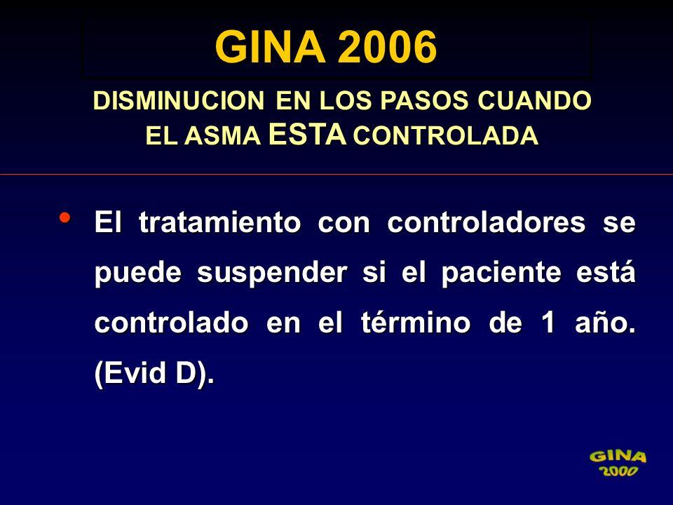 GINA 2006 GINA 2006 DISMINUCION EN LOS PASOS CUANDO EL ASMA ESTA CONTROLADA El tratamiento con controladores se puede suspender si el paciente está co