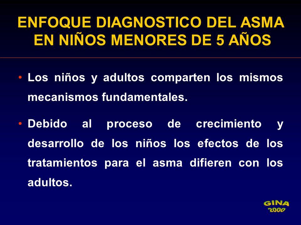 ENFOQUE DIAGNOSTICO DEL ASMA EN NIÑOS MENORES DE 5 AÑOS Los niños y adultos comparten los mismos mecanismos fundamentales. Debido al proceso de crecim