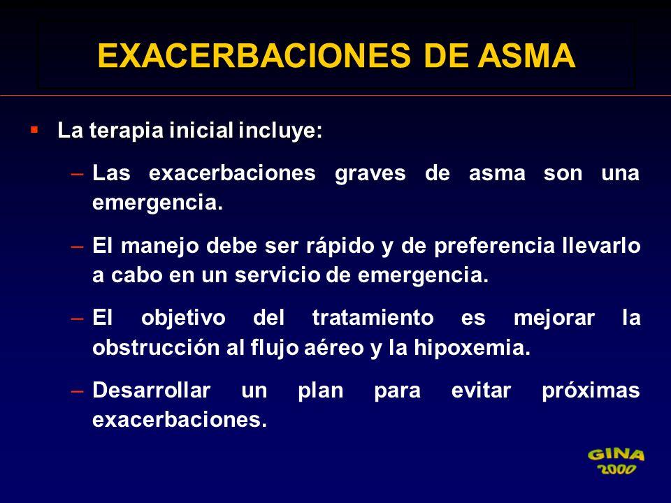 La terapia inicial incluye: La terapia inicial incluye: –Las exacerbaciones graves de asma son una emergencia. –El manejo debe ser rápido y de prefere