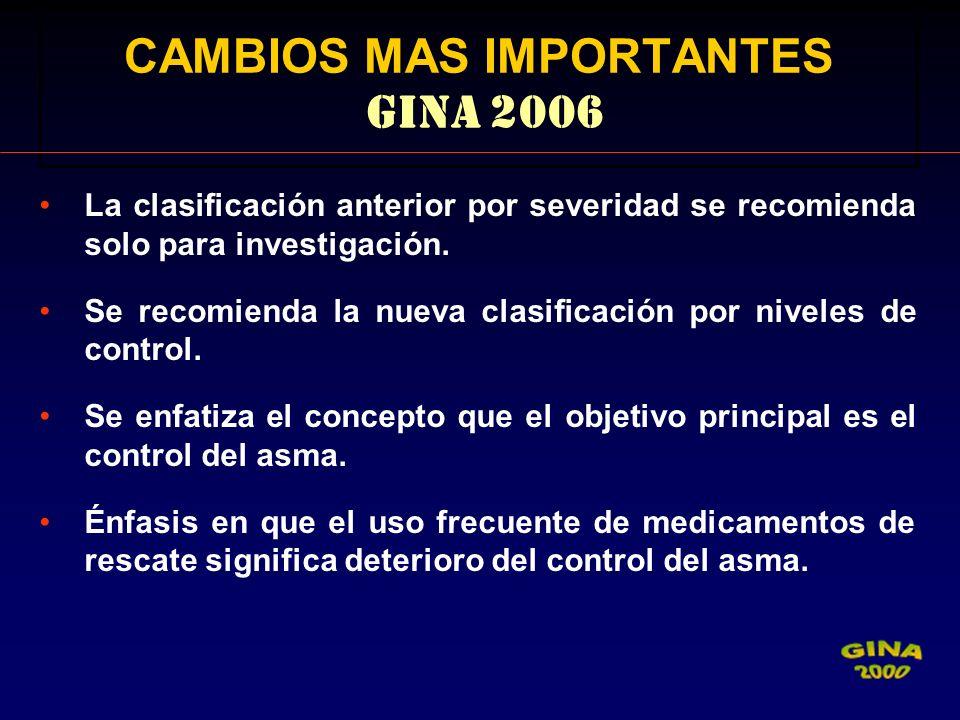 CAMBIOS MAS IMPORTANTES GINA 2006 La clasificación anterior por severidad se recomienda solo para investigación. Se recomienda la nueva clasificación
