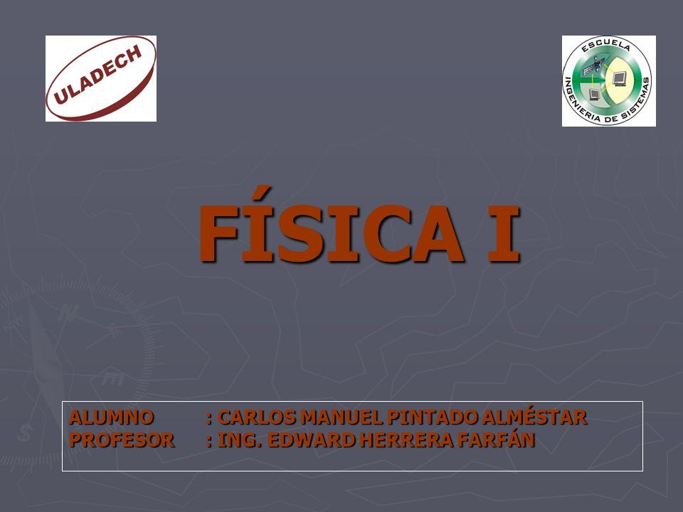 FÍSICA I ALUMNO: CARLOS MANUEL PINTADO ALMÉSTAR PROFESOR: ING. EDWARD HERRERA FARFÁN