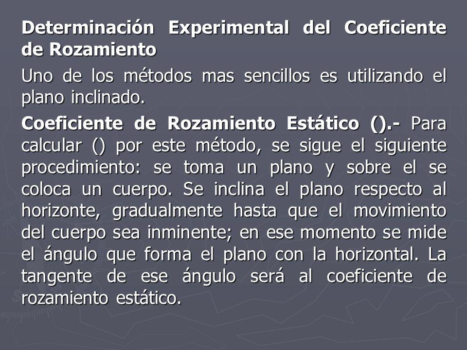 Determinación Experimental del Coeficiente de Rozamiento Uno de los métodos mas sencillos es utilizando el plano inclinado. Coeficiente de Rozamiento