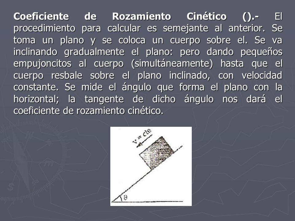 Coeficiente de Rozamiento Cinético ().- El procedimiento para calcular es semejante al anterior. Se toma un plano y se coloca un cuerpo sobre el. Se v