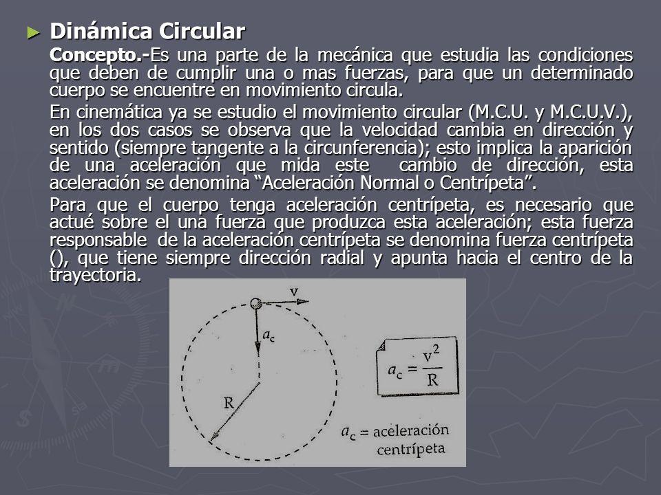 Dinámica Circular Dinámica Circular Concepto.-Es una parte de la mecánica que estudia las condiciones que deben de cumplir una o mas fuerzas, para que