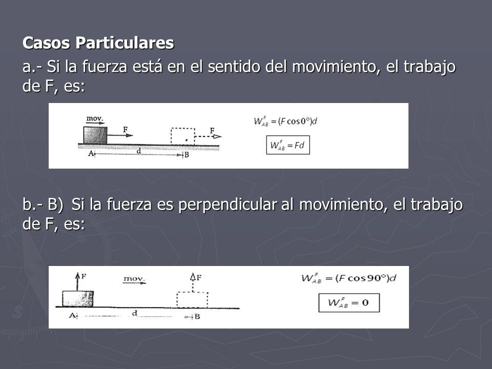 Casos Particulares a.- Si la fuerza está en el sentido del movimiento, el trabajo de F, es: b.- B)Si la fuerza es perpendicular al movimiento, el trab