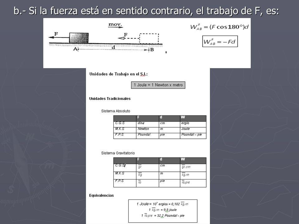 b.- Si la fuerza está en sentido contrario, el trabajo de F, es: